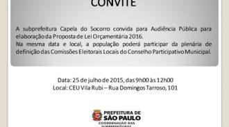 Audiência Pública De Elaboração Da Proposta De Lei Orçamentária 2016 Da Cidade De São Paulo