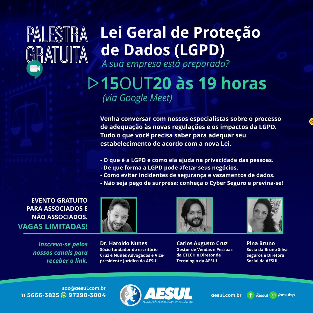 Palestra gratuita: Lei Geral de Proteção de Dados (LGPD)